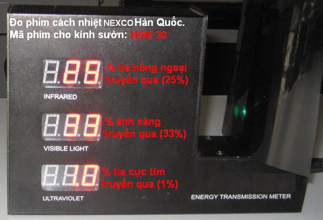 NGR302 Kết quả đo phim cách nhiệt NEXCO và một số phim khác